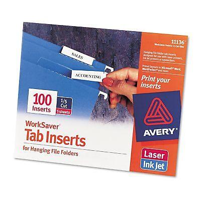 Avery 11136 Worksaver 15 Cut Printable Hanging File Tab 100 Inserts Folder Work