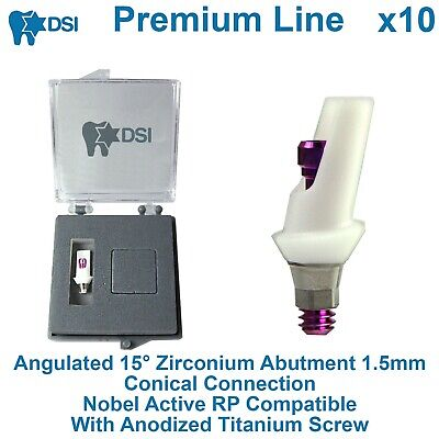 10 Dsi Dental Implant Angulated Zirconium Abutment Conical Nobel Active Rp 1.5