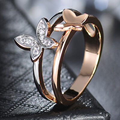 Two Butterfly Silver & Gold Filled Clear Crystal Rhinestone Women Wedding Rings Crystal Rhinestone Bridal Rings