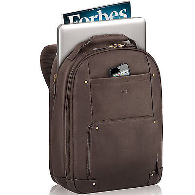 Laptop Back Pack Bag Leather Executive Travel for Notebook Computer up to 15.6in