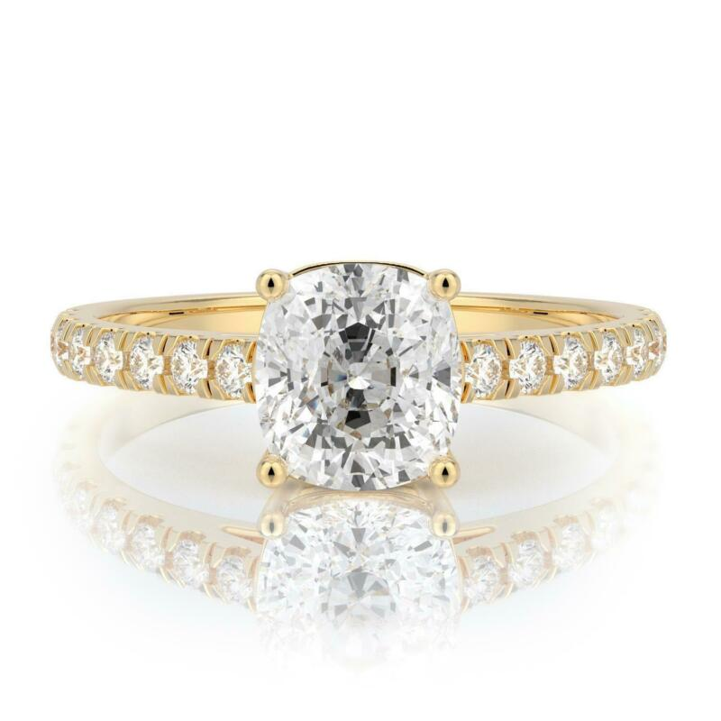 1.75 Ct F Vs2 Cushion Cut Solitaire Diamond Engagement Ring 14k Yellow Gold