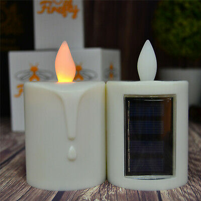 Solar Power Rechargeable Flameless Led Candles Battery Operated Flickering Light
