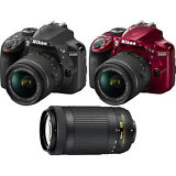 Nikon D3400 24.2MP DSLR Camera + 18-55 VR & 70-300m Lenses Bundle - Choose Color