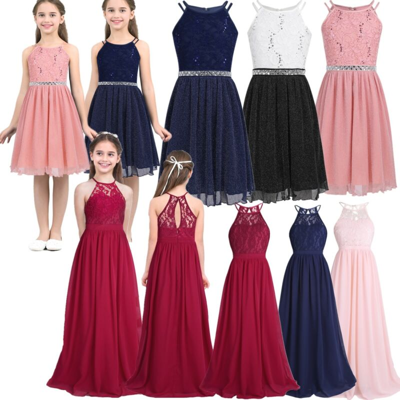 Kids Girls Flower Lace Gown Dress Tutu Wedding Party Bridesmaid Formal Pageant