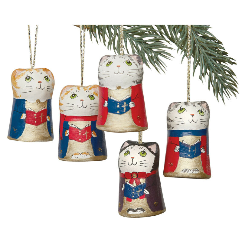 Set of 5 Caroling Cat Ornaments - Ceramic Hanging Christmas Holiday Decorations