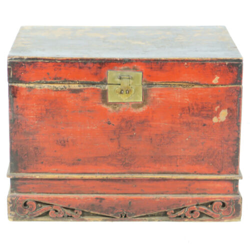 "Antique Asian Chinese 34"" wide Red front Trunk Chest w Carved base"