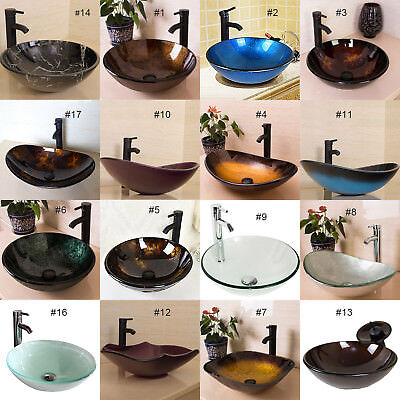 Bathroom Tempered Glass Vessel Sink Bowl Faucet Pop-up Drain Bath Basin -