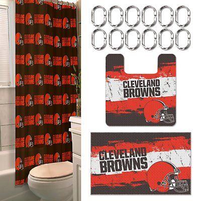 Cleveland Browns NFL 15 Piece Rug Shower Curtain Bath Set (Cleveland Browns Nfl Carpet)