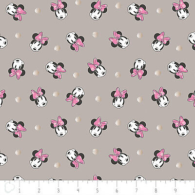 Disney Minnie Face Dot in Grey Metallic Camelot 100% cotton fabric by the yard - Minnie Face