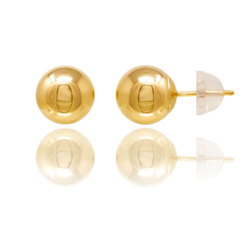 14KT YELLOW GOLD BALL STUD EARRINGS WITH COMFORT SILICONE BACK FREE BOX!