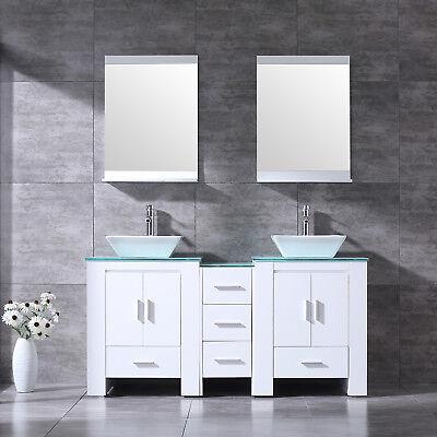 "NEW 60"" Bathroom Vanity Cabinet Double Ceramic Sink Bowl Wood Top w/Mirror White"