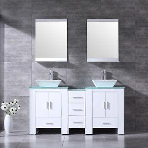 gray double sink bathroom vanity. NEW 60  Bathroom Vanity Cabinet Double Ceramic Sink Bowl Wood Top w Mirror White eBay
