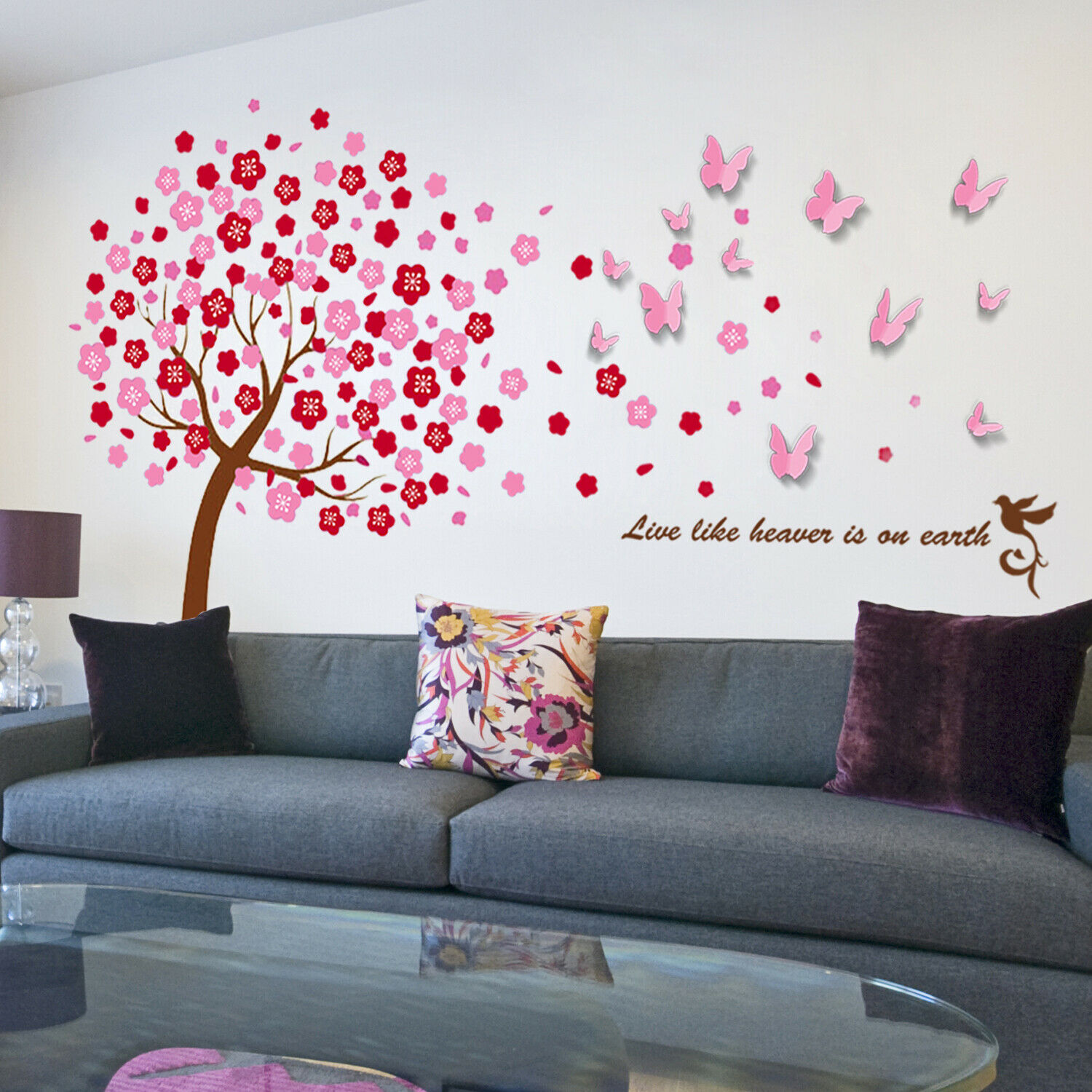 HUGE Dance In The Rain Butterflies Children Wall Stickers Bird Decals Tree Paper