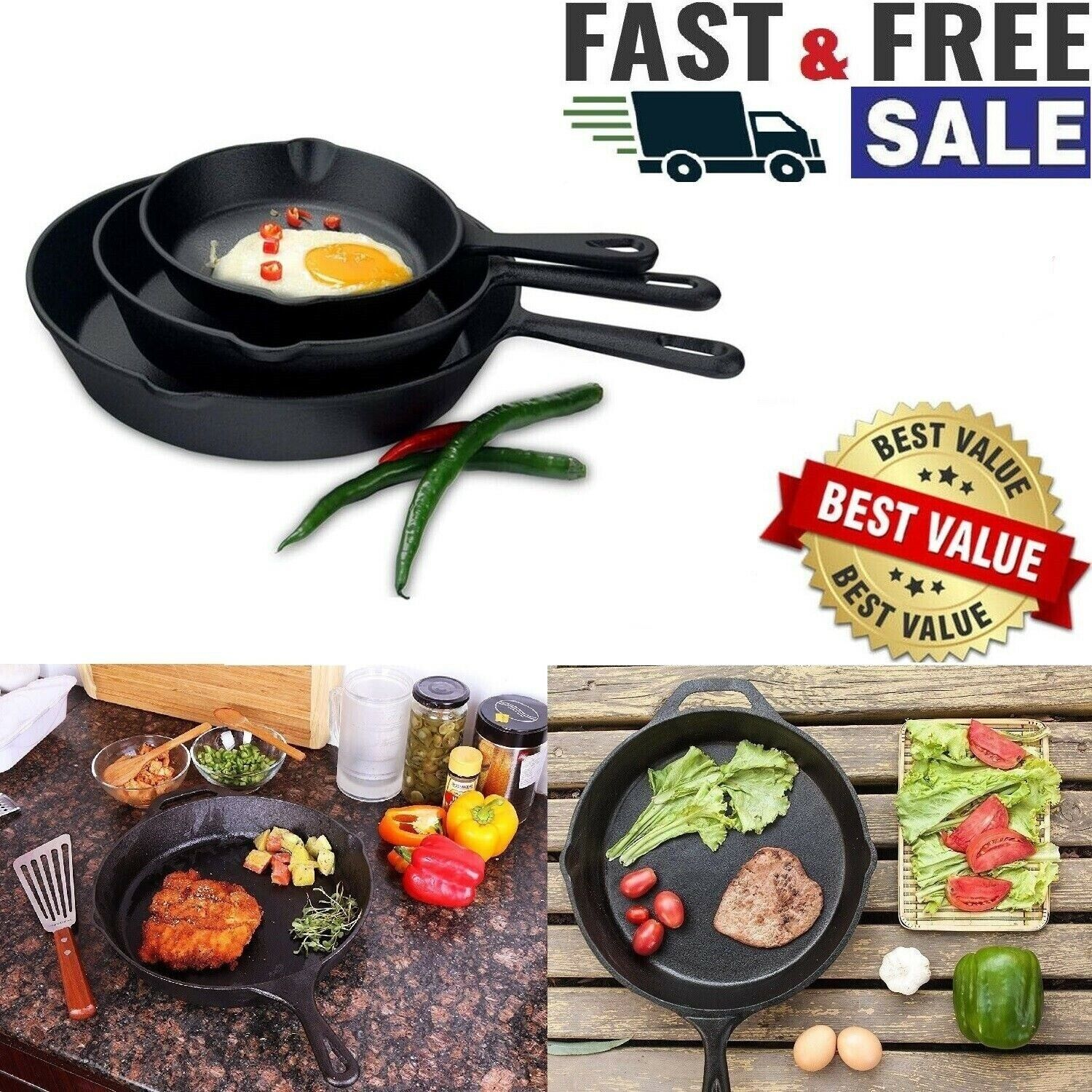 3 CAST IRON SKILLET Pre Seasoned 6 8 10 Inch Stove Oven Fry