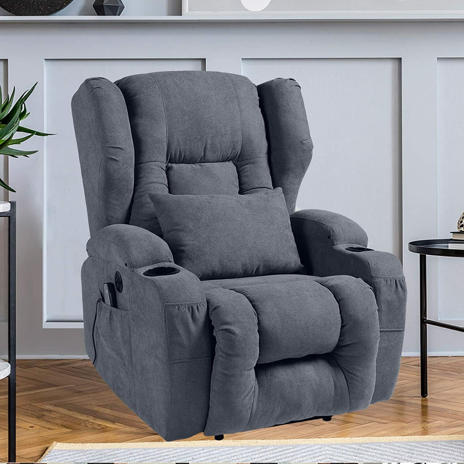 Fabric Recliner Chair with Heat and Massage w/ USB Charge Po