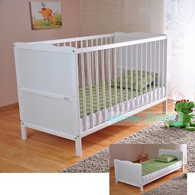 Wooden Baby Cot Bed & Deluxe Aloe Vera Mattress ✔ Converts to Toddler Bed