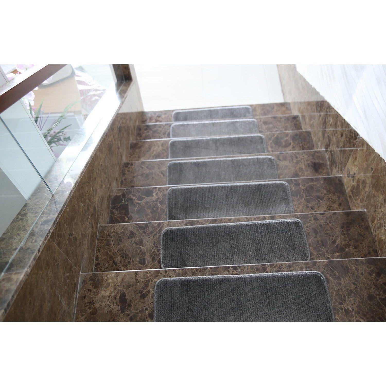 Stair Treads Set Grey Indoor Wood Floors Non Skid Slip Ca...