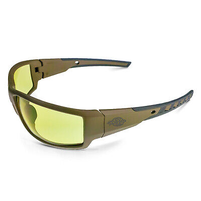 CROSSFIRE Cumulus Premium Safety Glasses Tan SD Frame HD Yellow Lens (Yellow Safety Glasses)