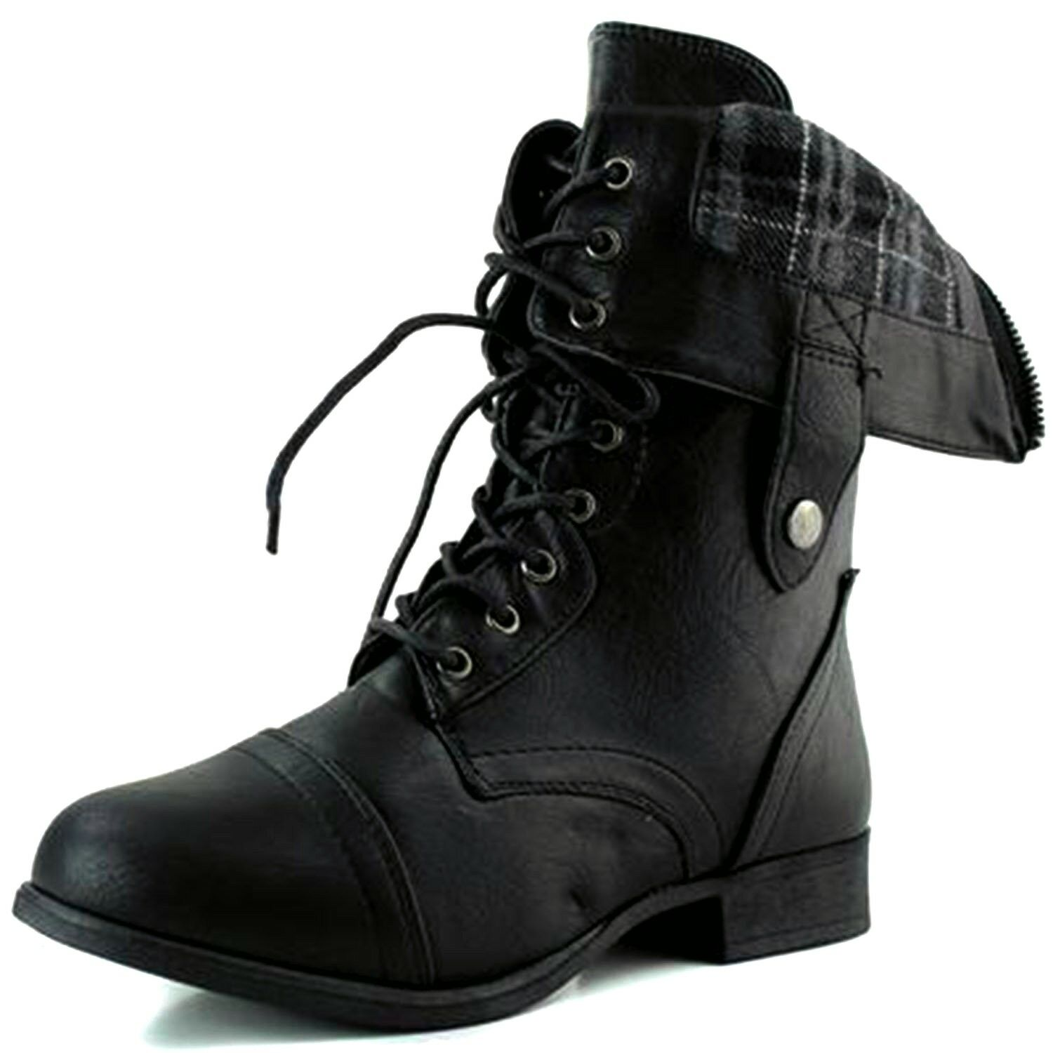 Top Modal SR-01 Women's Mid Calf Low Heel Combat Military La