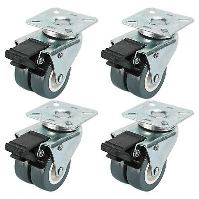 2 Tpr Dual Wheel Heavy Duty Swivel Plate Locking Casters - 4 Pack W Brakes