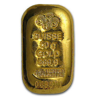 50 gram Gold Bar - PAMP Suisse (Cast, w/Assay) - SKU #75518