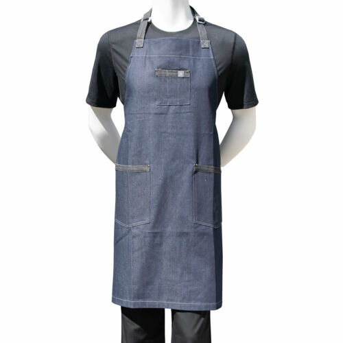 "Chef Code 34"" Denim Bib Apron with 3 Pockets CC531DNM"