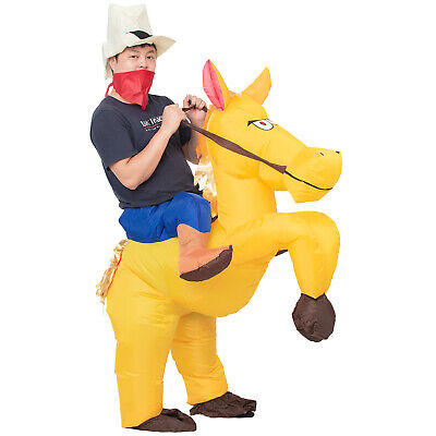 Inflatable Cowboy Costume Adult Men Women Kid Halloween Cosplay Horse Rider
