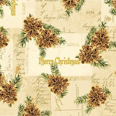Christmas Memories-Metallic-Washington Street Studios-BTY-Pine Cones-Natural B/G (Street Cones)