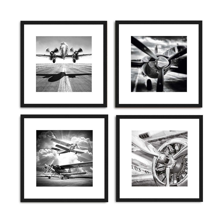 artissimo Poster Set mit Rahmen Bilder Set gerahmt  4x 30x30cm schwarz-weiß Foto