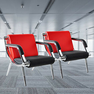2pcs Office Reception Chairs Waiting Room Visitor Guest Stools Red Wpu Leather