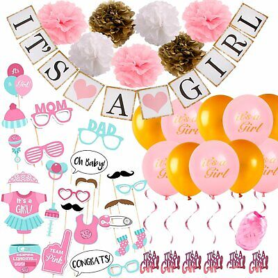 Baby Shower Decorations for Girl Set Pink Gold Theme Photo Booth Props Bundle - Girl Themes For Baby Shower