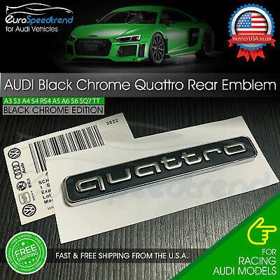 Audi Quattro Rear Emblem Black Chrome 3D Trunk Badge OEM A3 A4 A5 A6 A7 A8 Q5 Q7