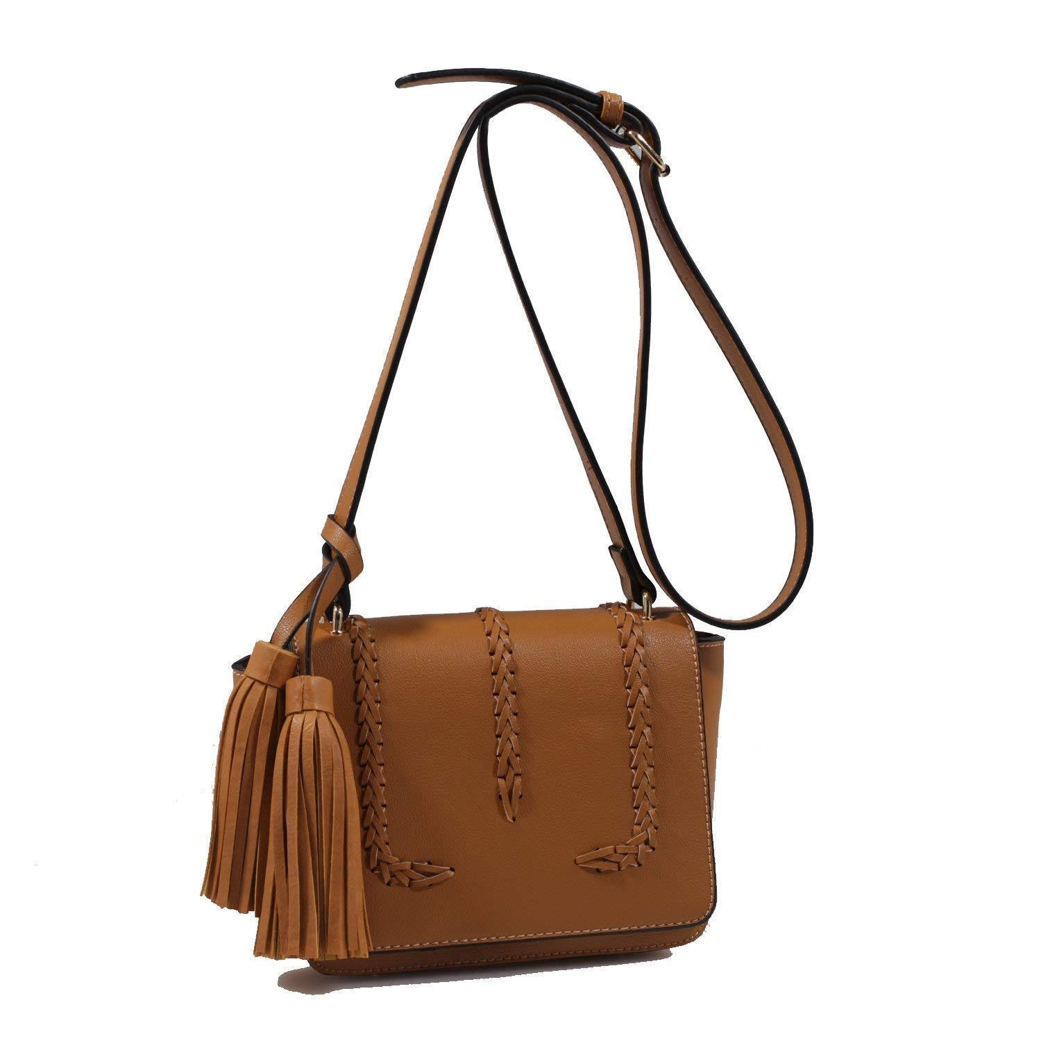 Isabelle Designer Inspired Whipstitched Faux Leather Crossbo