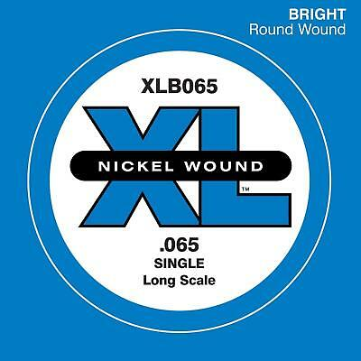 D'Addario XLB065 Nickel Wound Bass Guitar Single String, Long Scale, .065 (Nickel Wound Single Strings)