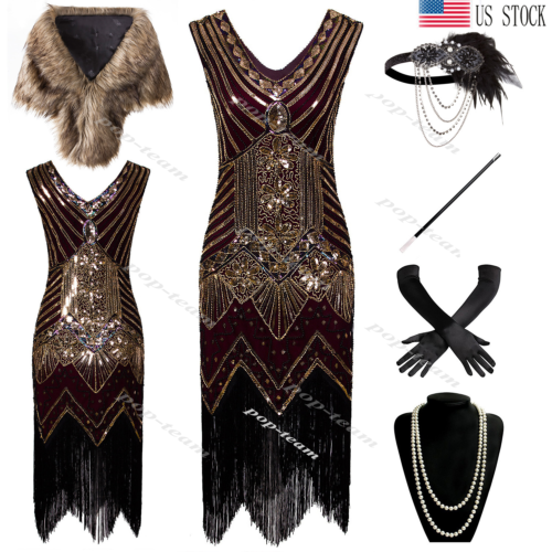 Cocktail Dress 1920s Flapper Gatsby Costume Wedding Party Evening Prom Dresses