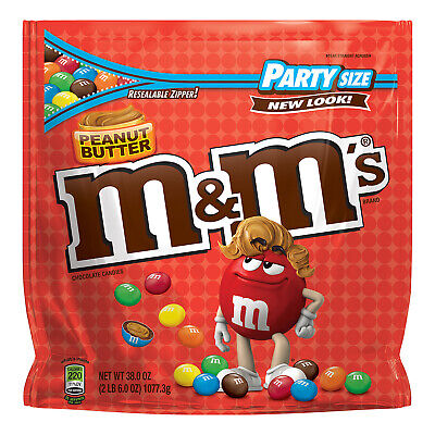 M&M PEANUT BUTTER CHOCLATE CANDY 38oz. - PACK OF 2