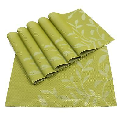 GREEN Mats Set of 6,Woven Vinyl PVC Washable Placemats Dining Table Place Mat ()