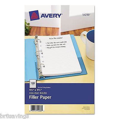 Avery Mini Binder Filler Paper College Ruled 7-hole Punch 2-100pack 14230