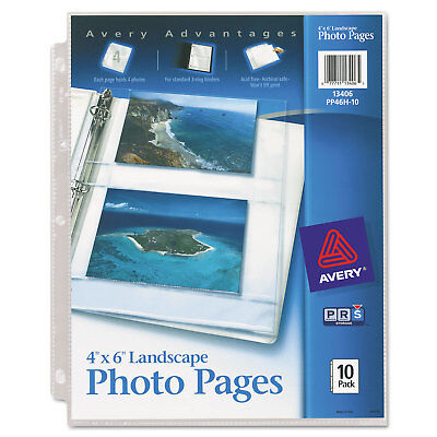 Avery Photo Storage Pages for Four 4 x 6 Horizontal Photos 3-Hole Punched 10