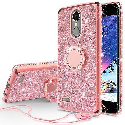 LG Fortune/Phoenix 3 Glitter Bling Cute Phone Case for Girls Ring Kickstand Pink - Glitter For Girls