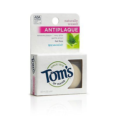 Tom's of Maine Flat Floss Naturally Waxed Anti-Plaque Spearmint 32 Yard, 24 Pack ()