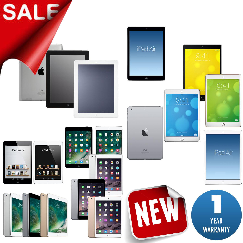 New Apple iPad Air,mini,2,3,4 Wifi AT&T-Mobile,Sprint,Verizon 1-Year Warranty
