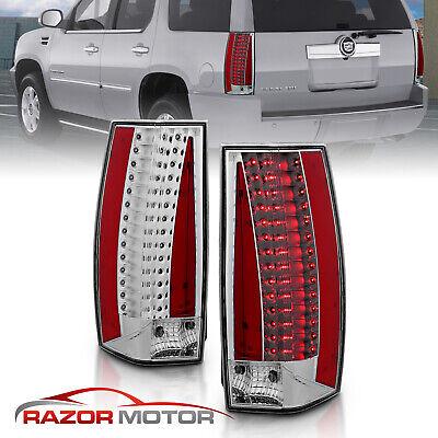 2007-2014 Cadillac Escalade ESV Chrome Euro Clear LED Brake Tail Lights Pair