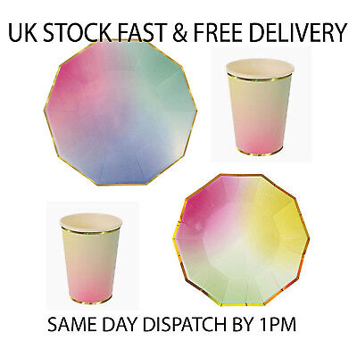 Polka Dot Sky Multi Coloured Unicorn Style Birthday Party Tableware 24pc set UK - Polka Dot Tableware