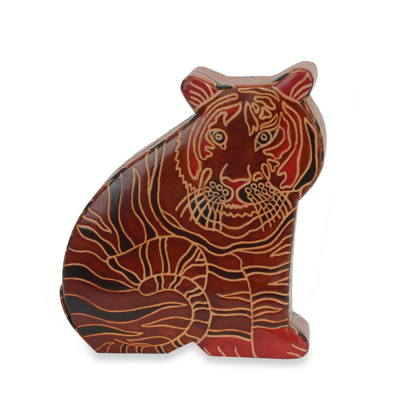 Handmade Multi Color Tiger Hand Painted Leather Money Bank