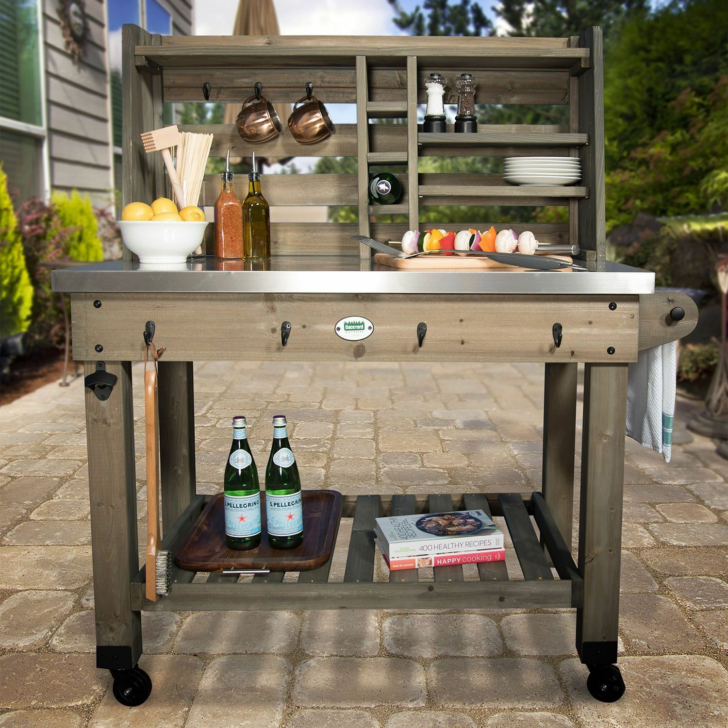 Outdoor Patio Serving Cart Deck Pool Party Prep Station Table Shelves Wine  Rack