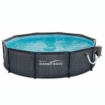 Summer Waves 10ft x 30in Above Ground Frame Swimming Pool Set & Pump, Dark Gray