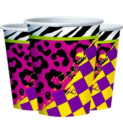 80's Decades Eighties Party Paper Tableware Decorations Neon Patterned Cups - Eighties Party Decorations