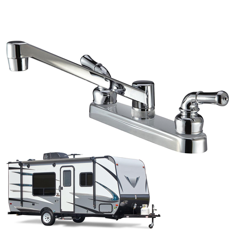 Classic Two Handle Design RV Kitchen Faucet Non-Metallic, Polished Chrome Finish eBay Motors