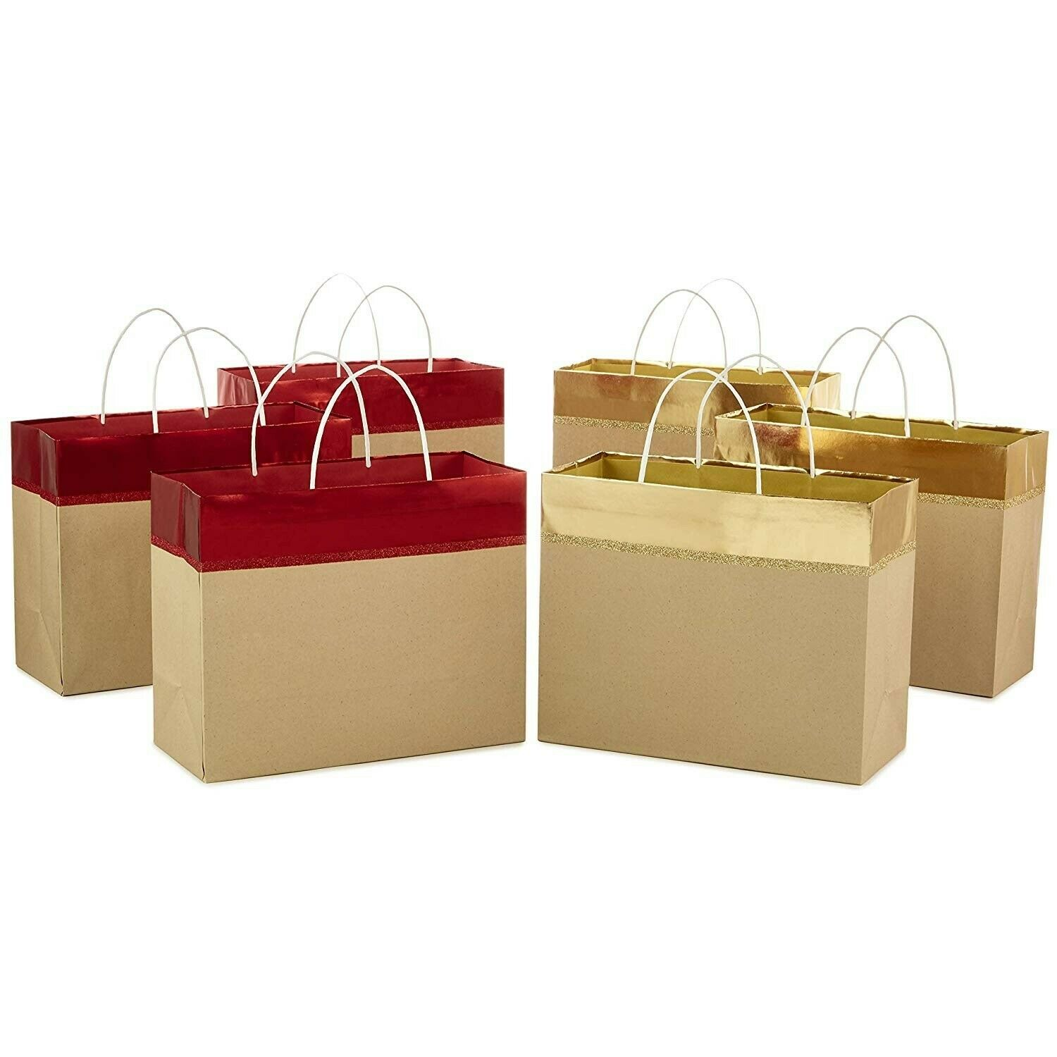 "Pack of 6 - Hallmark 10"" Large Christmas Gift Bags, Red and"
